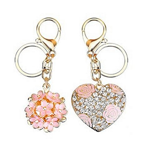 (Jzone 2pcs Keychains,Fashion Little Daisy Flower & Heart Shape Rose Pattern Keychain Purse Bag Pendant Keychain Womans Handbag Charm (pink))