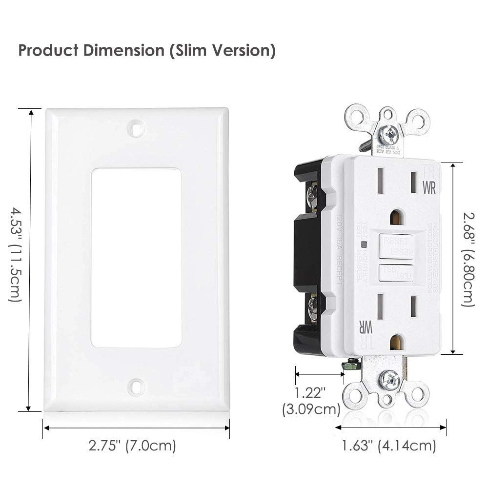 [10 Pack] BESTTEN 15A WR GFCI Outlets, Slim Outdoor Weather Resistant GFIs, Tamper Resistant Receptacles with LED Indicator, TR Ground Fault Circuit Interrupter with Decor Wall Plate, UL Listed, White by BESTTEN (Image #7)