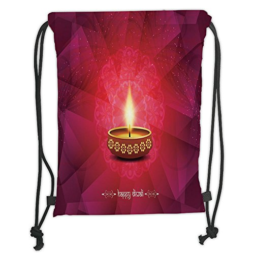 Custom Printed Drawstring Sack Backpacks Bags,Diwali,Paisley Background Image with Diwali Themed Religious Festive Celebration Tribal Print,Pink Soft Satin,5 Liter Capacity,Adjustable String Closure,T by iPrint