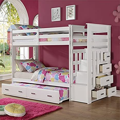 Amazon.com: ACME Furniture 37370 Allentown Twin Over Twin Bunk Bed With  Storage Ladder U0026 Trundle, Twin/Twin, White: Kitchen U0026 Dining