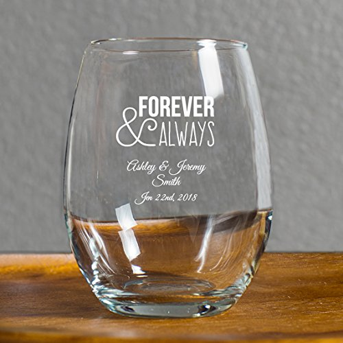 144 Pack Forever and Always Stemless Wine Glasses, 9 Ounce Personalized Wine Glass Printed in White, Anniversary Wedding Favors, Housewarming Gifts For New Home