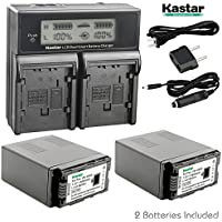 Kastar LCD Dual Smart Fast Charger & 2 x Battery for Panasonic VW-VBG6 VWVBG6 VBG6 Li-Ion Camcorder Battery and Panasonic AG-AC160A, AG-AC7, AG-AC130A, AG-AC160A, AG-HMC40, AG-HMC70, AG-HMC150