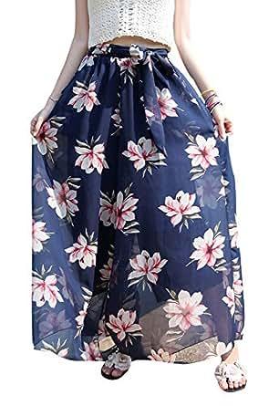 Flygo Womens Flowy High Waist Boho Floral Wide Leg Palazzo Pants Culottes - Blue - Medium
