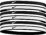 Nike Swoosh Sport Headbands 6 Pack (One Size Fits Most, Black/White) - Unisex