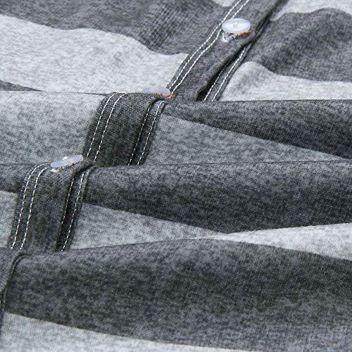 Blouse Tunique Bouton Rayures V Cou Femme VJGOAL Ample Blouse Stripe X gris Top Manches Chemises Longues Femmes d'impression Automne Gris Tops xwqvqaYBfn