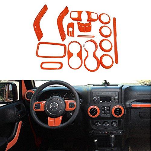 Opall 16pcs Interior Decoration Trim Kit Steering Wheel Trim, Centrer Console Air Outlet Trim, Door Handle Cover Inner, Passenger Seat Handle Trim For Jeep Wrangler 2011-2016 2-door (Orange)