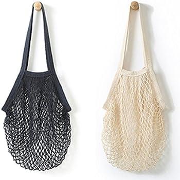 Flyou 2Pcs Portable Reusable Mesh Cotton Net String Bag Organizer Shopping Tote Handbag Fruit Storage Shopper NEW (black,beige)