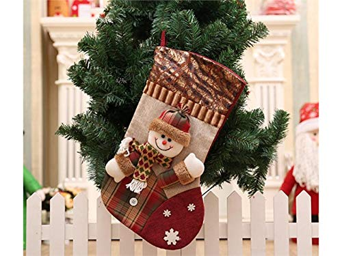 Yunqir Lattice Linen Christmas Stocking Candy Bag Gift Bag Christmas Tree Decoration(Snowman) by Yunqir (Image #3)