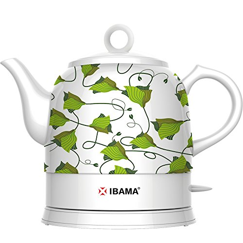 IBAMA Ceramic Electric Kettle Cordless Water Teapot for Tea and Coffee, Oven Mitt Included1.2L (Green Pattern)