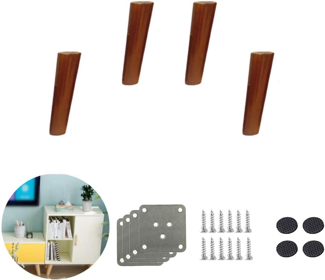 Set of 4 Solid Wood Furniture Legs, Replacement Tapered Sofa Legs, Rubber Wood Furniture Feet, for Sofa Bed, Armchair, Recliner, Dresser, Hardware Accessories, Walnut (10cm / 3.9in tilt)