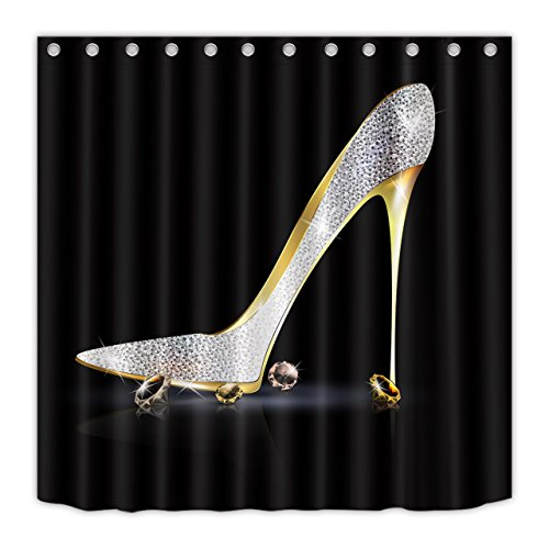 LB Diamonds Silver Gray High Heels Shoe Shower Curtain 72x72 inch Modern Fashion Girl Black Bathroom Curtain Polyester Fabric Bath Curtain Hooks Included Mildew Resistant Waterproof