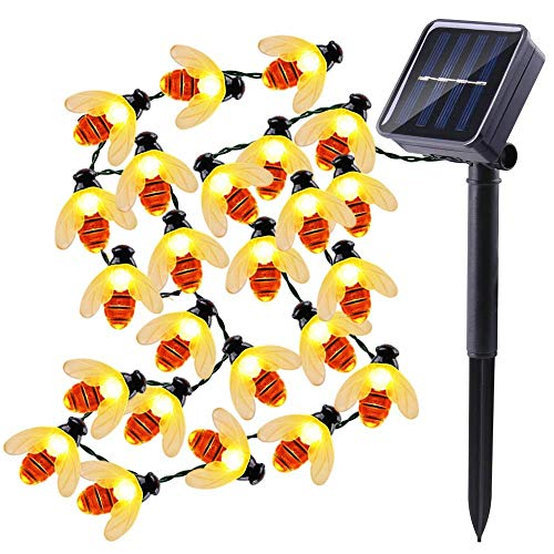 Solar String Lights Honeybees 30 LED 19.7ft 8 Modes Outdoor String Lights Waterproof Solar Powered String Lights for Outdoor Garden Decor(Warm White) ()