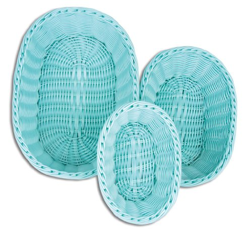 Hand Woven Oval Basket (Colorbasket 51301-204 Hand Woven Waterproof Oval Basket, Sky Blue, Gift Box, Set of 3)