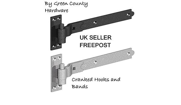 18 negro (gancho de servicio pesado y banda puerta cobertizo estable puerta bisagras: Amazon.es: Bricolaje y herramientas
