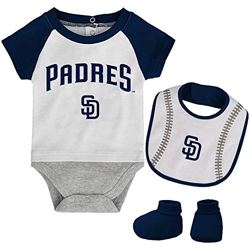 MLB Newborn Baseball Kid Bodysuit, Bib & Booties Set - White (0/3 Months, San Diego -