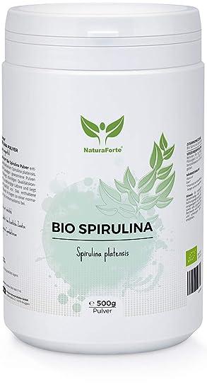 NaturaForte Espirulina Powder 500 g, puro, vegano, sin aditivos, alimentos crudos, clorofila, hierro, potasio, proteínas y magnesio: Amazon.es: Salud y ...