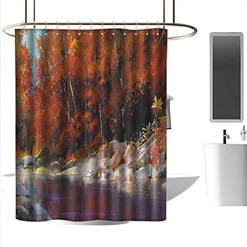 J Chief Sky Modern Shower Curtains Nature,River with Rocks Autumn Forest Peaceful Artistic Paint of Scenic Woods Artwork,Ginger Purple Printing Curtains for Bathroom Shower W72 x L96 -