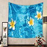 Gzhihine Custom tapestry Hawaiian Decorations Tapestry Coconut Palm Trees and Lawn on the Sandy Poipu Beach in Hawaii Kauai Picture Bedroom Living Room Dorm Decor Blue Green