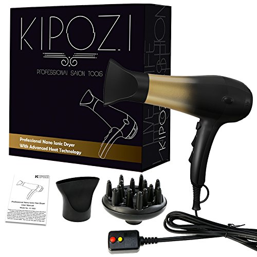 KIPOZI 1875W Hair Dryer, Nano Ionic Blow Dryer Professional Salon Hair Blow Dryer Lightweight Fast Dry Low Noise, with Concentrator, Diffuser, 2 Speed and 3 Heat Settings