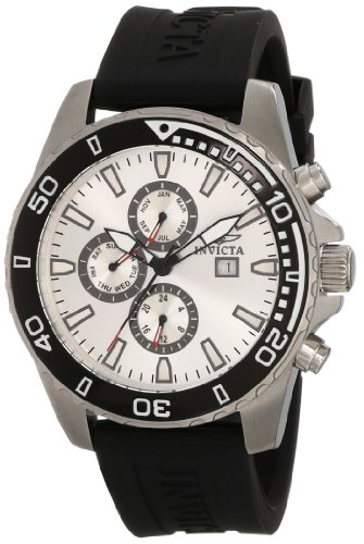 Invicta Men's 10920 Specialty Silver Dial Black Polyurethane (Red Polyurethane Watch)