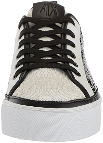 X Low Cut Womens A Exchange Nero Sneaker Sequined Bianco Armani FHqgPPwd1