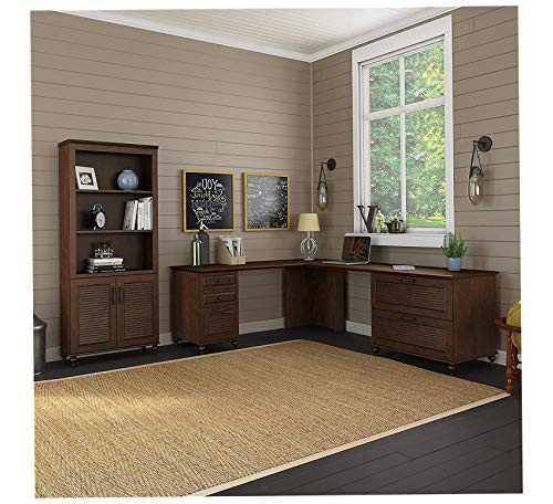 Wood & Style Furniture Dusk 68W x 91D L Shaped Desk with Bookcase and 2 Pedestals in Coastal Cherry Premium Office Home Durable Strong