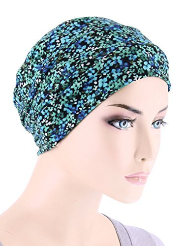 d9558f34504 Chemo Cap Womens Beanie Sleep Turban Hat Headwear for Cancer in Green  Petite Floral