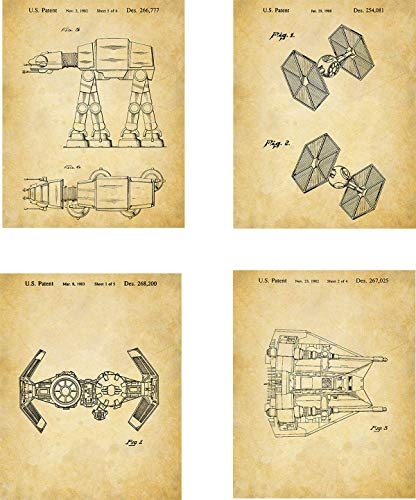 Star Wars Patent Wall Art Prints - set of Four (8x10) Unframed - wall art decor for Star Wars fans]()