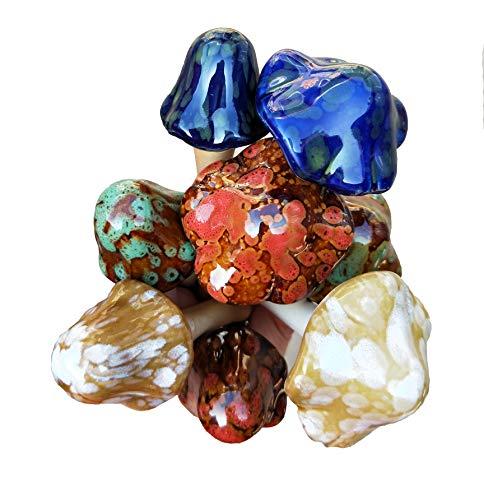 Set of 8 Ceramic Mushroom Yard Decoration Statues (Mushroom Art Garden)