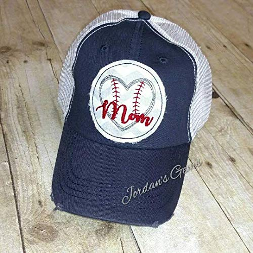 Baseball Softball Mom Heart Embroidered Raggy Patch Distressed Navy and White Trucker Hat or Messy Bun High Ponytail Cap ()