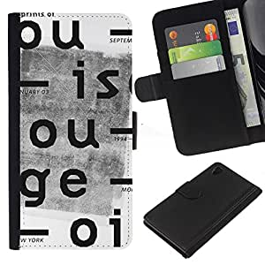 A-type (Periódico Vintage Typewriter Blanca) Colorida Impresión Funda Cuero Monedero Caja Bolsa Cubierta Caja Piel Card Slots Para Sony Xperia Z4v / Sony Xperia Z4 / E6508