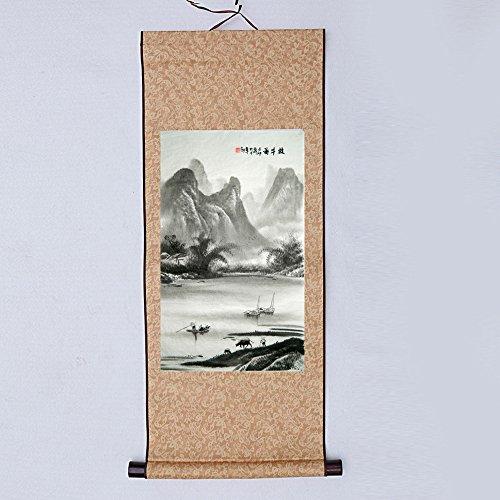 JZ014 Hmayart kakejiku Blank Mounting Hanging Wall Scroll Set for Kanji, Sumi and Chinese Calligraphy (6pcs/Set) (Scroll Size: 14.96'' x 41.34'' (38 x 105 cm)) by Hmayart (Image #5)