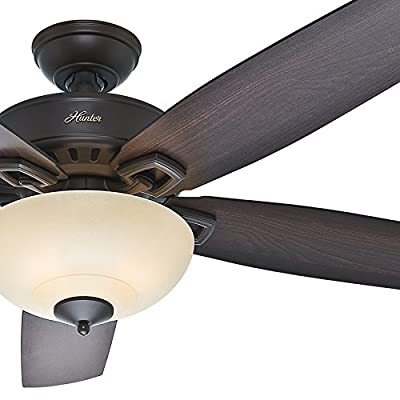 "Hunter Fan 60"" Great Room Ceiling Fan in Premier Bronze with Cased White Glass Light Kit, 5 Blade (Certified Refurbished)"
