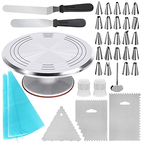 Pastel Table Base - Kootek 35-in-1 Cake Decorating Supplies with Aluminium Alloy Revolving Cake Turntable, 24 Piping Tips, 2 Frosting Spatula, 3 Icing Comb, 2 Reusable Pastry Bags, 2 Couplers and 1 Flower Nail