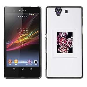 Be Good Phone Accessory // Dura Cáscara cubierta Protectora Caso Carcasa Funda de Protección para Sony Xperia Z L36H C6602 C6603 C6606 C6616 // grey begonia grey poster spring flow