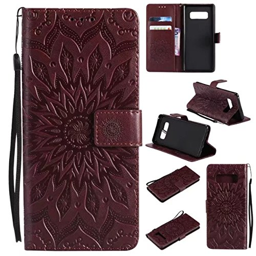 Galaxy Note 8 Wallet Case,A-slim(TM) Sun Pattern Embossed PU Leather Magnetic Flip Cover Card Holders & Hand Strap Wallet Purse Case for Samsung Galaxy Note 8 - Brown