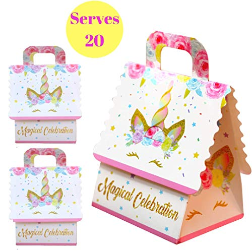 Unicorn Party Favor Bags - Goodie Treat Gift Bag for Girls| Candy, Party Favors Bag Fillers for Unicorn Themed Birthday Party Supplies Decorations or Baby Shower| Pack of -