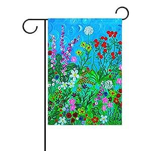 sunlome Custom Decor flores Floral primavera casa banderas uno doble impresión decorativa vacaciones bandera de Jardín, 12x 18inches