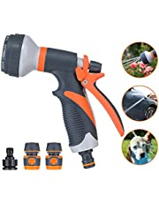 Pathonor Garden Hose Spray Nozzle 8 Adjustable Patterns Water Gun,High Pressure Spray Nozzle Perfect for Watering plants, Car Washing, Shower Pets