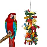 Parrot Toy,Pure Natural Colorful Knot and Block Rainbow Chewing Hanging Toy …