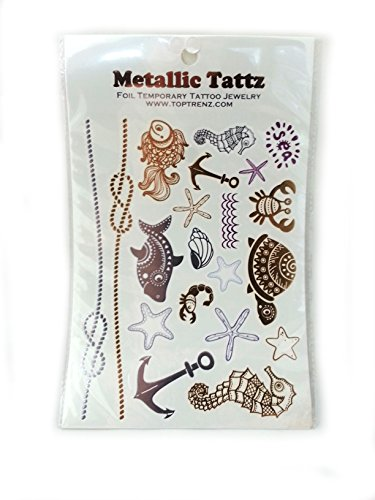 Toptrenz - Metallic Tattz Foil Temporary Tattoo Jewelry - Ocean (Ocean Themed Tattoos)
