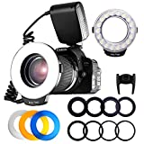 FOSITAN RF-600D Macro LED Ring Flash 18 SMD with LCD Display Power Control 8 Adapter Rings 4 Flash Diffuser for Canon 650D 600D 550D 70D 60D 5D, Nikon D5000 D3000 D5100 D3100 D7000 D7100 D800 D800E