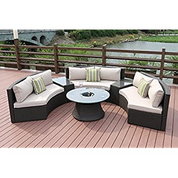 Direct Wicker Half Moon 6 Piece Outdoor Curved Sectional Sofa With Side  Table Set