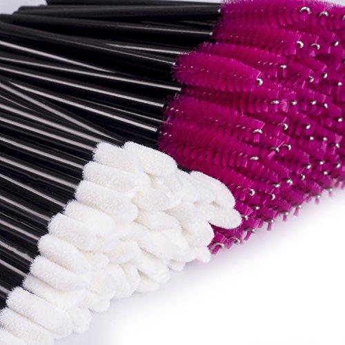 BTArtbox 200PCS Makeup Brushes Disposable Mascara Wands & Lip Gloss Lipstick Applicators Kit Lintfree Make Up Tester Wand Applicator Black & Pink
