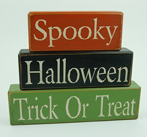 NEW! Spooky Halloween Trick Or Treat - Primitive Wood Sign Shelf Sitting Blocks - Holiday, Seasonal, Halloween, Fall, Home Decor
