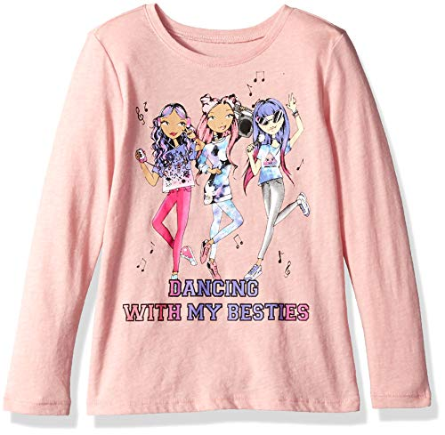The Children's Place Baby Girls Long Sleeve Graphic Tees, Sample/dye STRWBRRYCRM, XS (4) ()