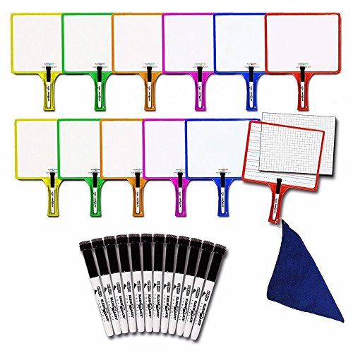 Kleenslate Deluxe Dry Erase Response Paddle Kit, Blank/Lined/Graph, Pack of 24 ()
