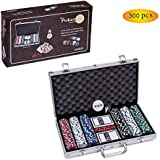 Smilejoy Poker Chip Set for Texas Holdem, 300 PCS Casino Poker Chips Set with Aluminum Case (11.5 Gram)