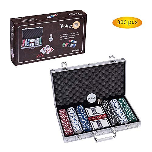 (Smilejoy Poker Chip Set for Texas Holdem, 300 PCS Casino Poker Chips Set with Aluminum Case (11.5 Gram))