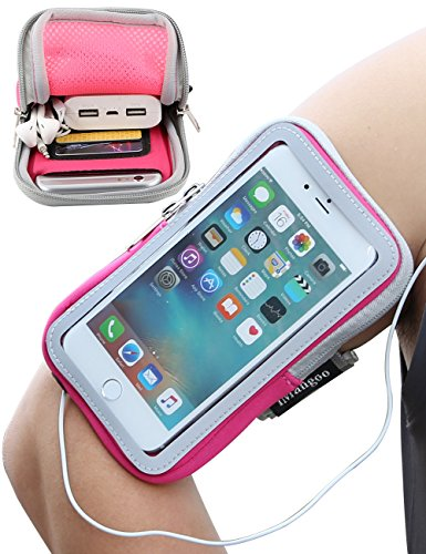 iMangoo iPhone Armband, iPhone 6S Plus Sports Armband Pouch Running Armbands Gym Wrist Bag Touchscreen Sleeve Key Holder & Card Slot Wallet Case Arm Band for Apple iPhone 6 Plus LG MOTO G5 Plus Pink